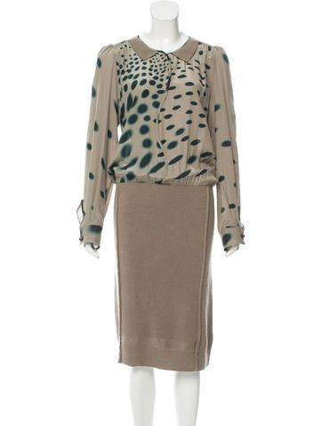 Sonia Rykiel Silk & Wool Long Sleeve Dress w/ Tags None