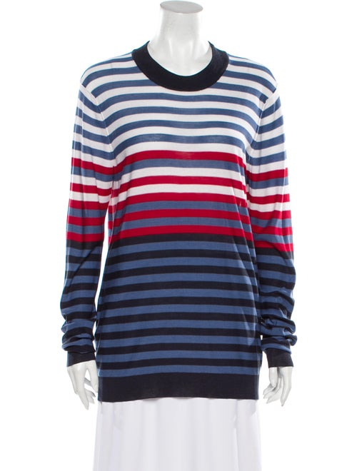 Sonia Rykiel Silk Striped Sweatshirt Blue