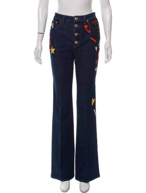 Sonia Rykiel Patch-Accented Mid-Rise Jeans blue