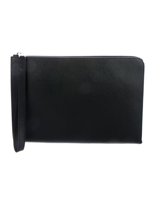 Serapian Leather Zip-Around Wristlet Black