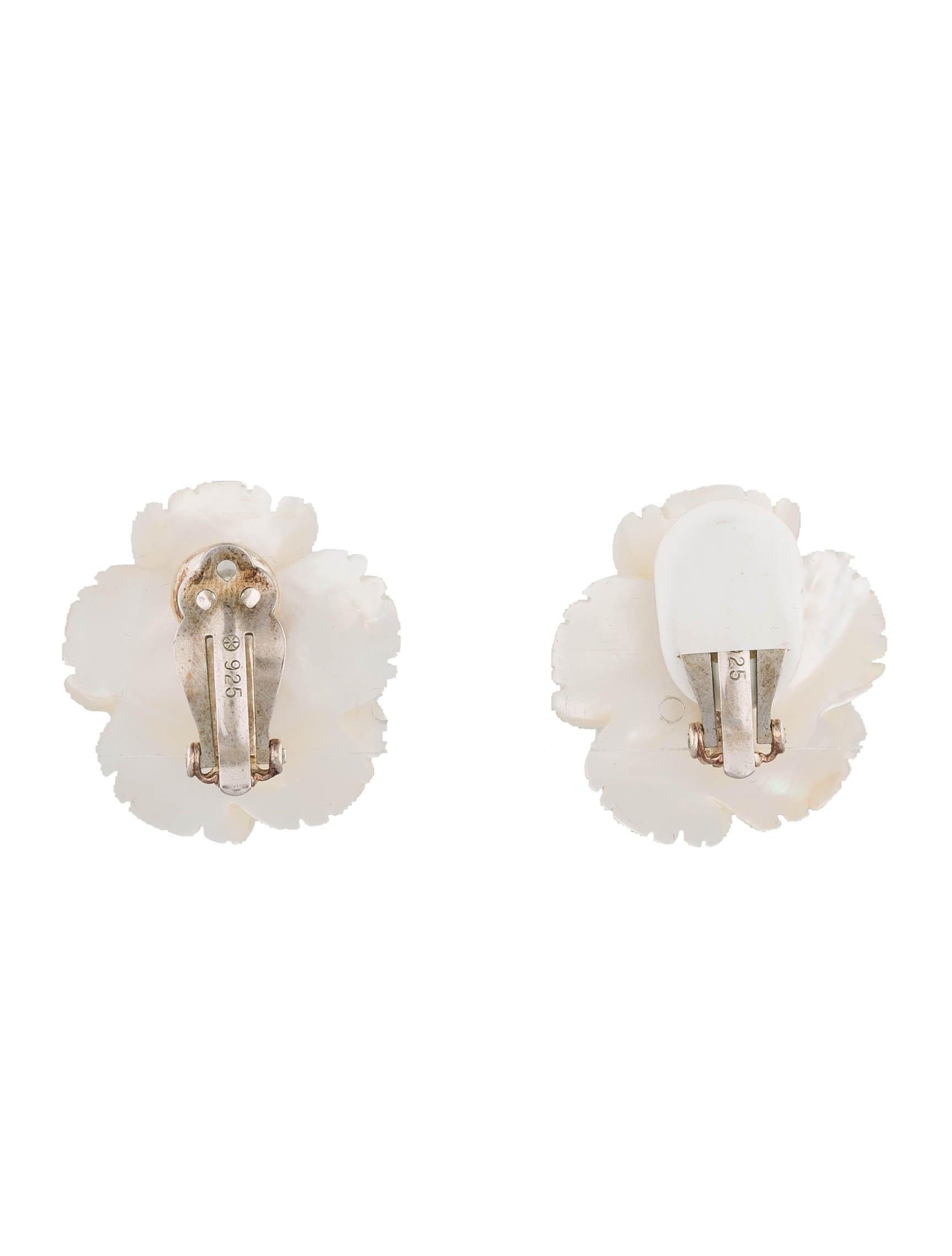 Mother Of Pearl Flower Earrings
