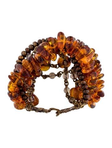 Amber & Pearl Multi Strand Bracelet