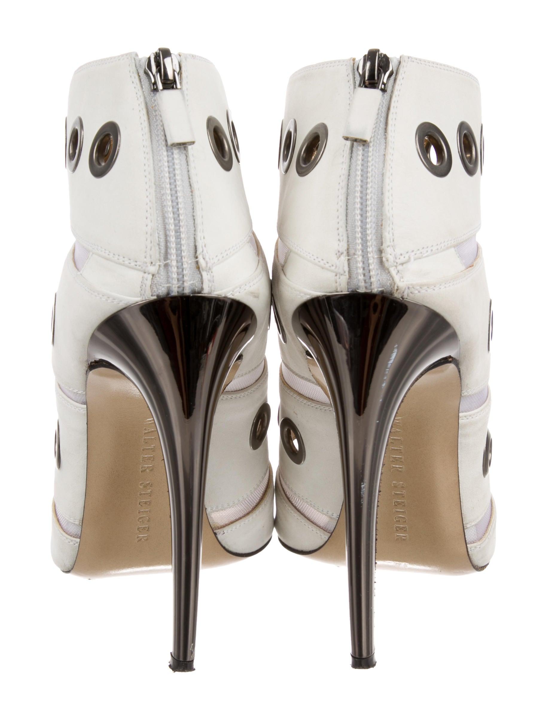 Walter Steiger Grommet-Embellished Peep-Toe Booties free shipping view gjxFteBg