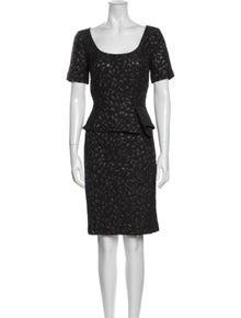 St. John Scoop Neck Knee-Length Dress