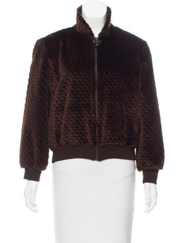 St. John Faux Fur Bomber Jacket None