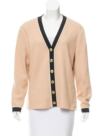 St. John Stripe-Trimmed Rib Knit Cardigan None