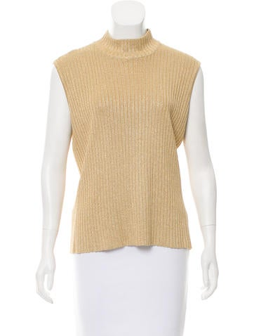 St. John Sleeveless Rib Knit Sweater None