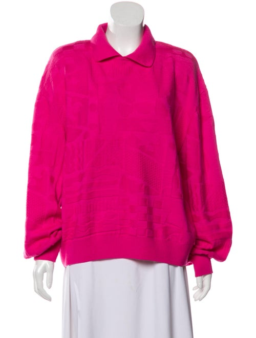 St. John Intarsia Collared Sweater Fuchsia