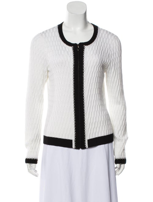 St. John Textured Knit Cardigan White