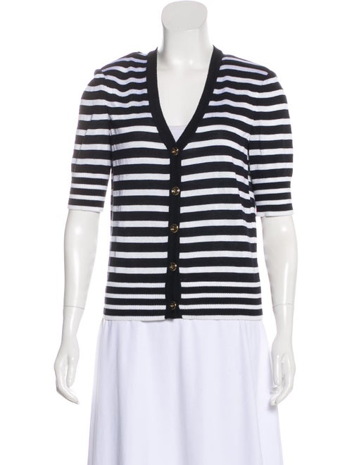 St. John Stripe Short Sleeve Cardigan White
