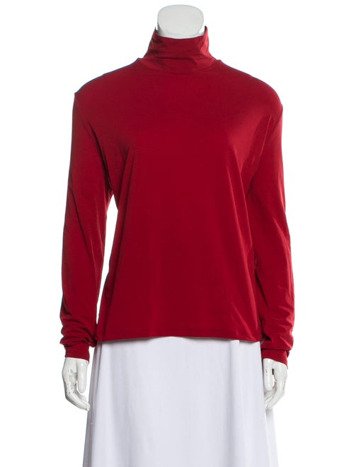 St. John Turtleneck Long Sleeve Top Red