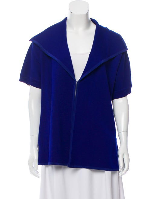 St. John Knit Short Sleeve Cardigan Blue