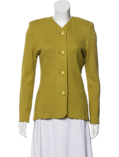 St. John Textured Knit Jacket Green