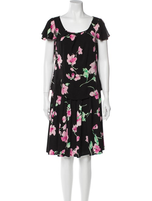 St. John Silk Floral Print Skirt Set Black