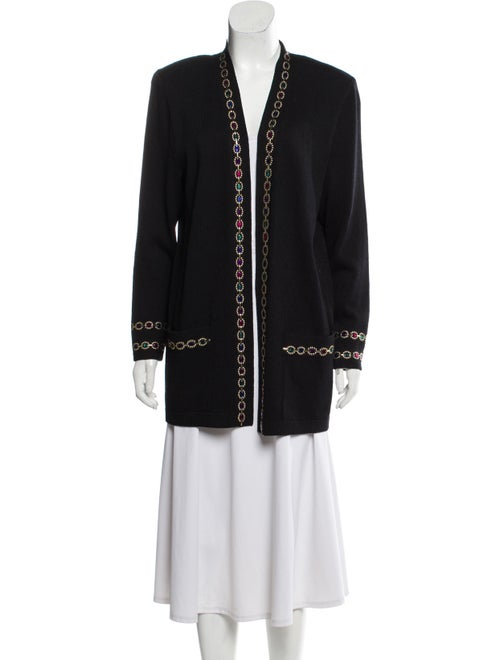 St. John Embellished Knit Cardigan Black