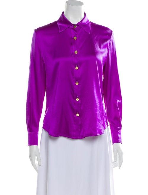 St. John Silk Long Sleeve Button-Up Top Purple