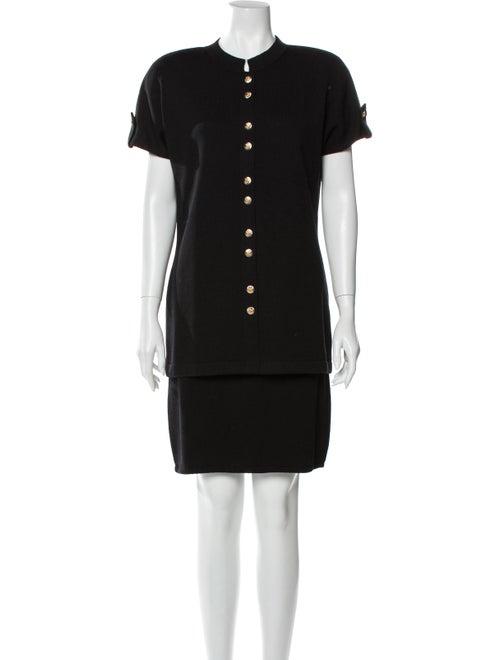 St. John Pleated Accents Skirt Set Black