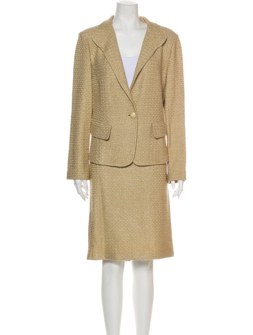 St. John Tweed Pattern Skirt Suit w/ Tags Metallic