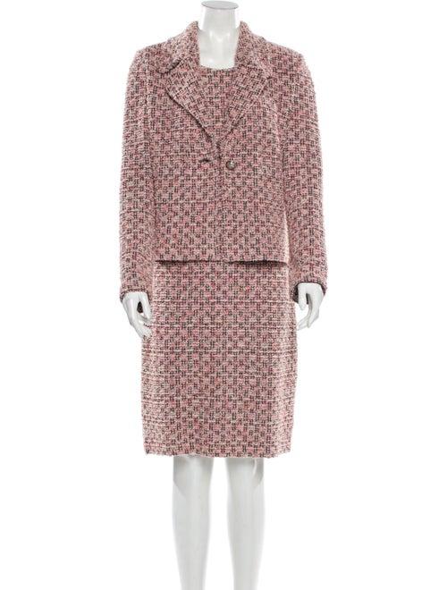 St. John Tweed Pattern Dress Set Pink - image 1
