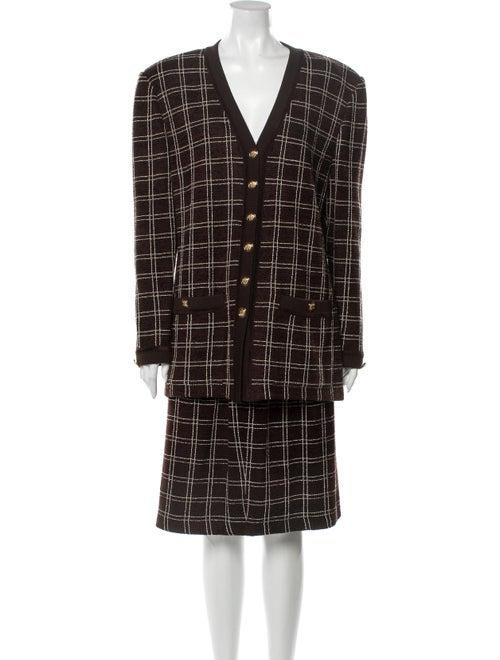 St. John Plaid Print Skirt Set Brown