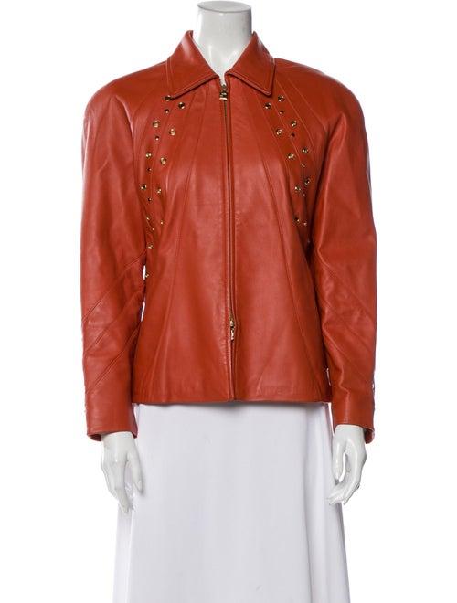 St. John Leather Jacket Orange