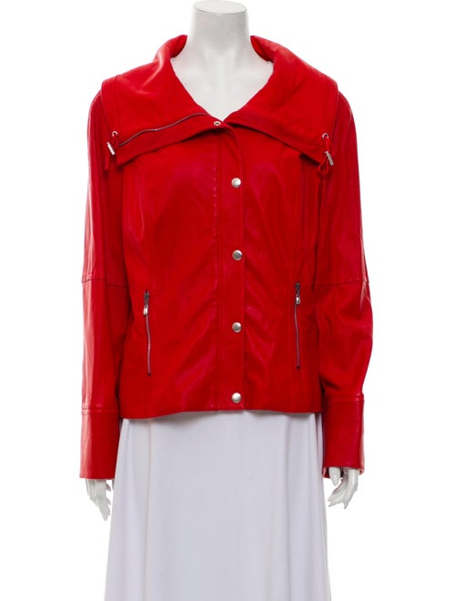St. John Lamb Leather Biker Jacket Red