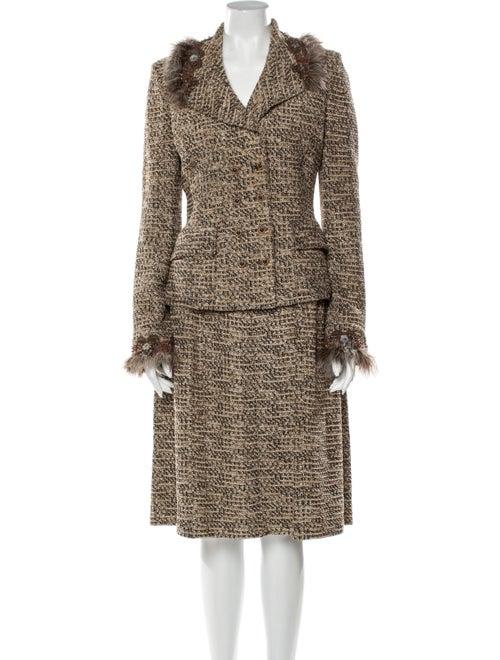 St. John Tweed Pattern Feather Trim Skirt Suit