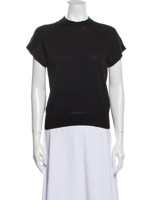 St. John Vintage Mock Neck T-Shirt Black