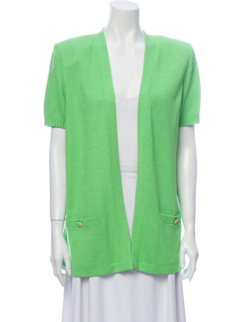 St. John Open Front Sweater Green