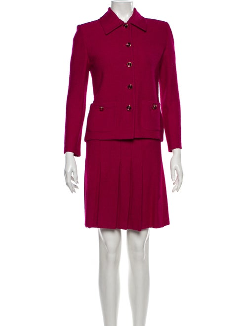 St. John Pleated Accents Skirt Suit Pink - image 1
