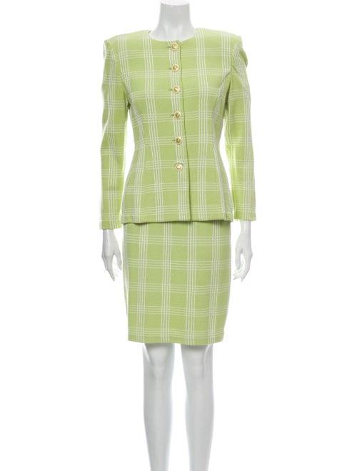St. John Plaid Print Skirt Suit Green