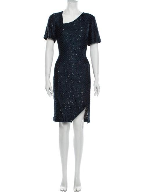St. John Asymmetrical Knee-Length Dress Blue
