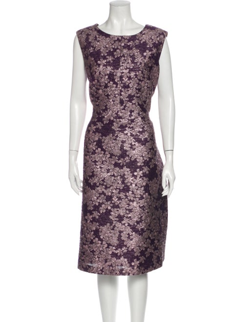 St. John Floral Print Midi Length Dress Purple