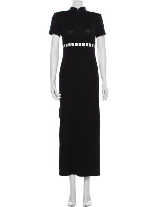 St. John Turtleneck Long Dress Black