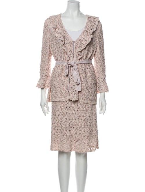 St. John Ruffle Embellishment Skirt Suit Pink - image 1