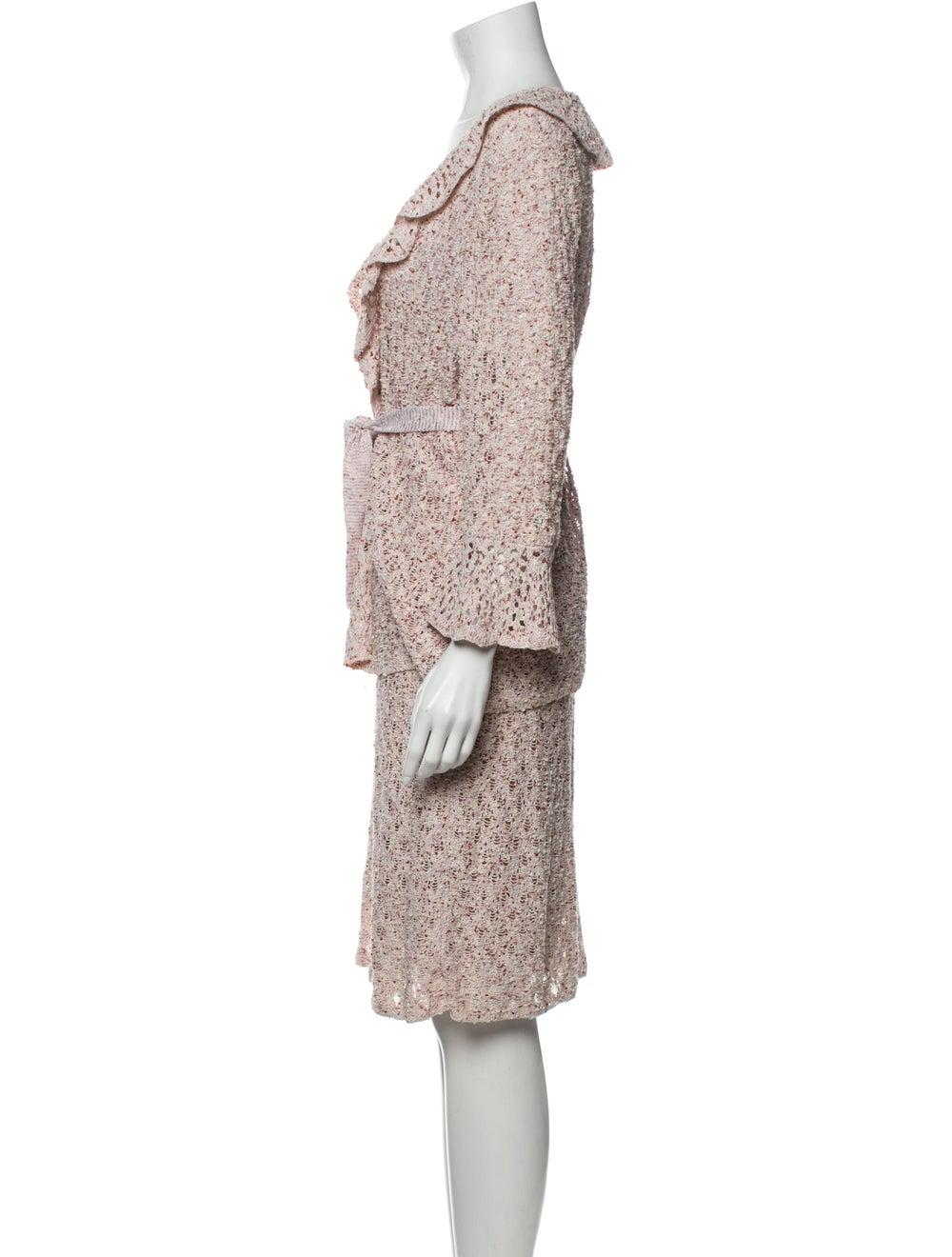 St. John Ruffle Embellishment Skirt Suit Pink - image 2