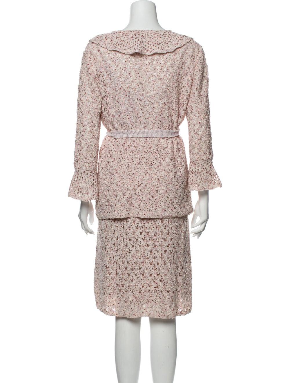 St. John Ruffle Embellishment Skirt Suit Pink - image 3