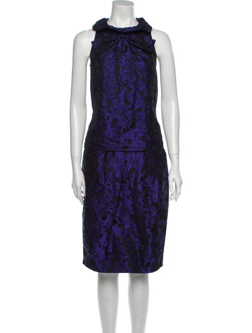 St. John Pleated Accents Skirt Set Purple