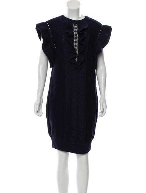 Stella McCartney Ruffle Knit Dress Navy