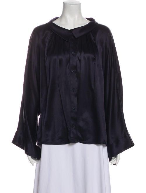 Stella McCartney Silk Long Sleeve Blouse Blue