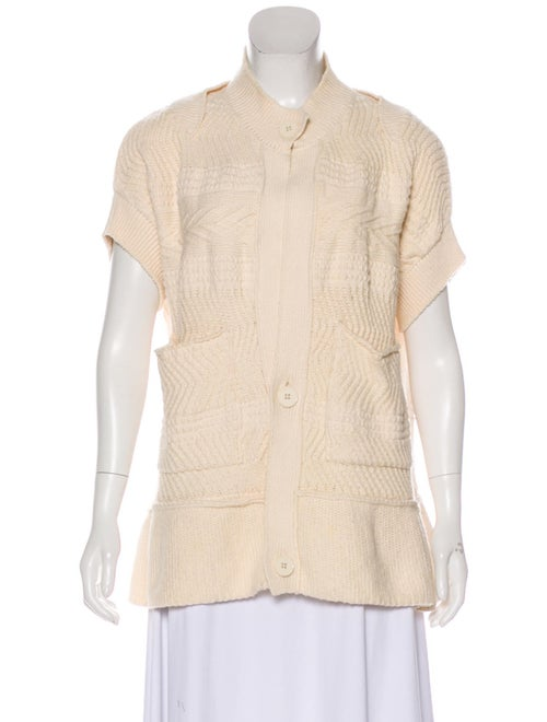 Stella McCartney Knit Short Sleeve Cardigan Beige