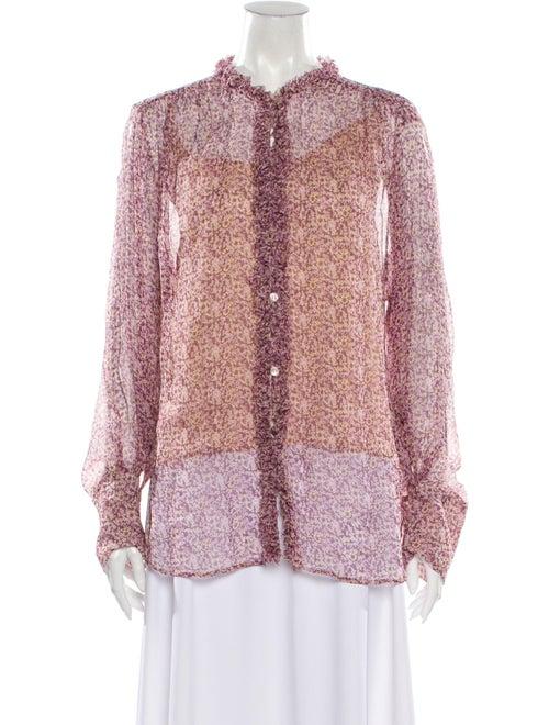 Stella McCartney Silk Floral Print Button-Up Top P