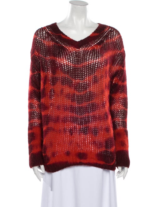 Stella McCartney Tie-Dye Print V-Neck Sweater Red