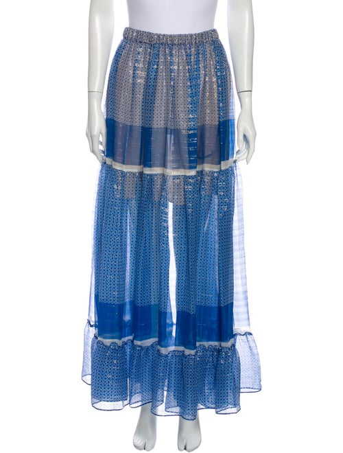 Stella McCartney Silk Midi Length Skirt Blue