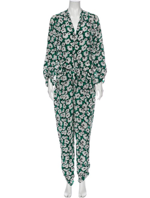 Stella McCartney Silk Floral Print Jumpsuit Green