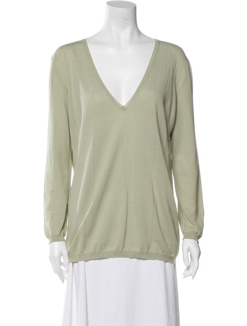 Stella McCartney V-Neck Long Sleeve Blouse Green