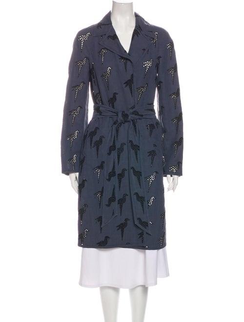 Stella McCartney Printed Trench Coat Blue