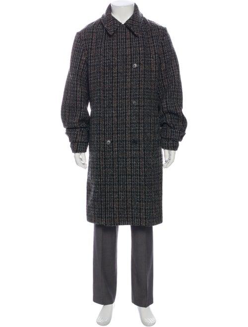 Stella McCartney Wool Plaid Print Trench Coat Wool