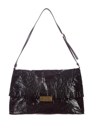 Wrinkled Coated Canvas Shoulder Bag