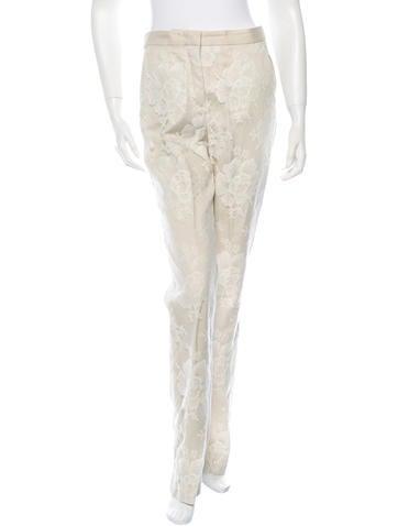 Stella McCartney Lace-Paneled Straight-Leg Pants None